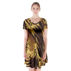 Stripes Tiger Pattern Safari Animal Print Short Sleeve V Neck Flare Dress