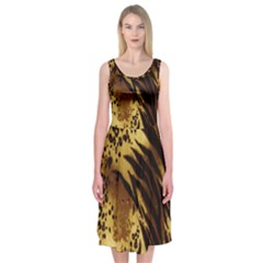 Stripes Tiger Pattern Safari Animal Print Midi Sleeveless Dress