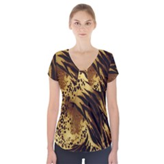 Stripes Tiger Pattern Safari Animal Print Short Sleeve Front Detail Top