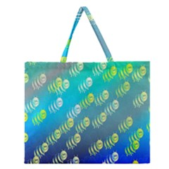 Animal Nature Cartoon Wild Wildlife Wild Life Zipper Large Tote Bag