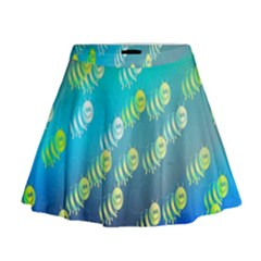 Animal Nature Cartoon Wild Wildlife Wild Life Mini Flare Skirt