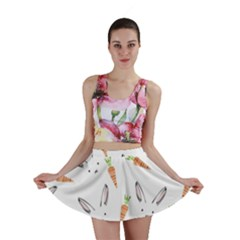 Rabbit Carrot Pattern Weft Step Mini Skirt