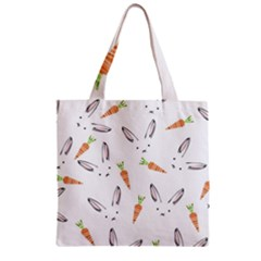 Rabbit Carrot Pattern Weft Step Zipper Grocery Tote Bag