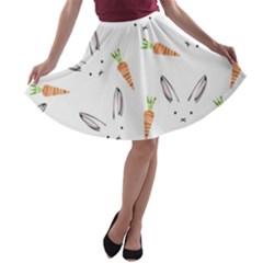 Rabbit Carrot Pattern Weft Step A Line Skater Skirt