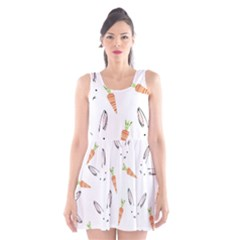 Rabbit Carrot Pattern Weft Step Scoop Neck Skater Dress