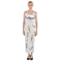 Rabbit Carrot Pattern Weft Step Fitted Maxi Dress