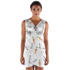 Rabbit Carrot Pattern Weft Step Wrap Front Bodycon Dress