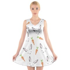 Rabbit Carrot Pattern Weft Step V-Neck Sleeveless Skater Dress