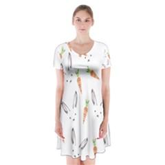 Rabbit Carrot Pattern Weft Step Short Sleeve V-neck Flare Dress