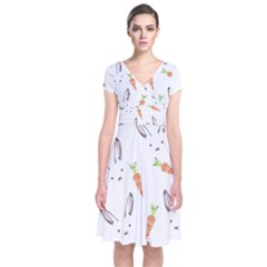 Rabbit Carrot Pattern Weft Step Short Sleeve Front Wrap Dress