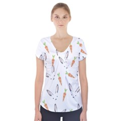 Rabbit Carrot Pattern Weft Step Short Sleeve Front Detail Top