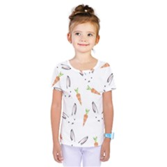 Rabbit Carrot Pattern Weft Step Kids  One Piece Tee