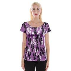 Floral Pattern Background Women s Cap Sleeve Top
