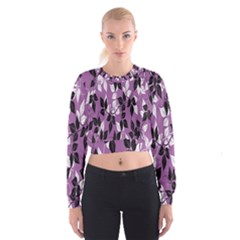 Floral Pattern Background Women s Cropped Sweatshirt