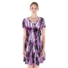 Floral Pattern Background Short Sleeve V-neck Flare Dress