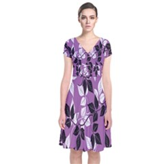 Floral Pattern Background Short Sleeve Front Wrap Dress