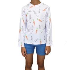Rabbit Carrot Pattern Weft Step Kids  Long Sleeve Swimwear