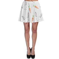 Rabbit Carrot Pattern Weft Step Skater Skirt
