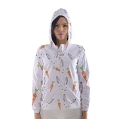 Rabbit Carrot Pattern Weft Step Hooded Wind Breaker (Women)