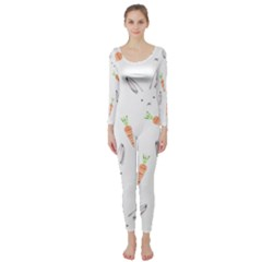 Rabbit Carrot Pattern Weft Step Long Sleeve Catsuit