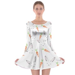 Rabbit Carrot Pattern Weft Step Long Sleeve Skater Dress