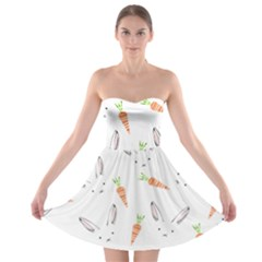 Rabbit Carrot Pattern Weft Step Strapless Bra Top Dress