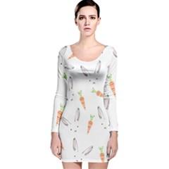 Rabbit Carrot Pattern Weft Step Long Sleeve Velvet Bodycon Dress