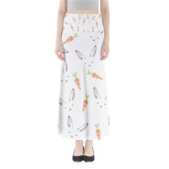 Rabbit Carrot Pattern Weft Step Maxi Skirts