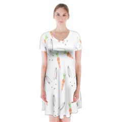 Rabbit Carrot Pattern Weft Step Short Sleeve V Neck Flare Dress