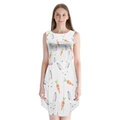 Rabbit Carrot Pattern Weft Step Sleeveless Chiffon Dress