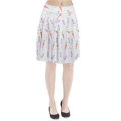 Rabbit Carrot Pattern Weft Step Pleated Skirt
