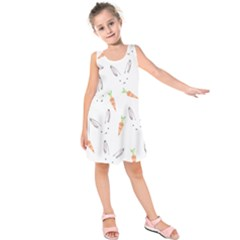 Rabbit Carrot Pattern Weft Step Kids  Sleeveless Dress