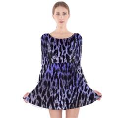 Fabric Animal Motifs Long Sleeve Velvet Skater Dress