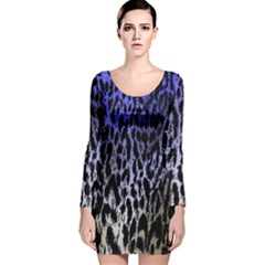 Fabric Animal Motifs Long Sleeve Velvet Bodycon Dress