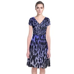 Fabric Animal Motifs Short Sleeve Front Wrap Dress
