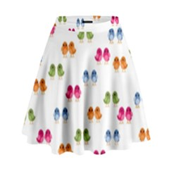 Pattern Birds Cute Design Nature High Waist Skirt