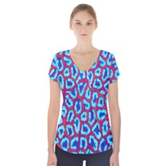 Animal Tissue Short Sleeve Front Detail Top