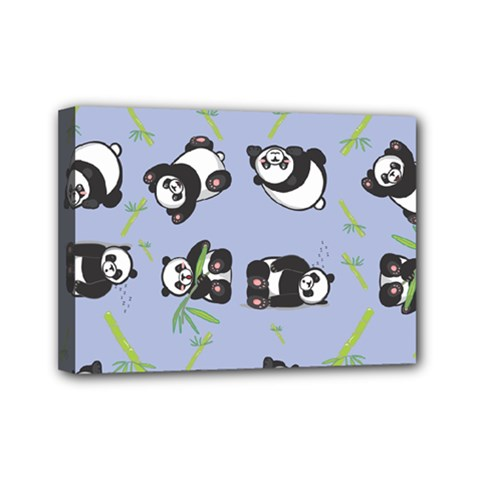Panda Tile Cute Pattern Blue Mini Canvas 7  X 5