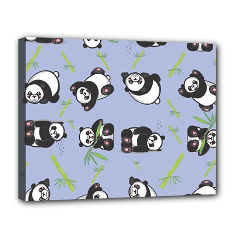 Panda Tile Cute Pattern Blue Canvas 14  x 11