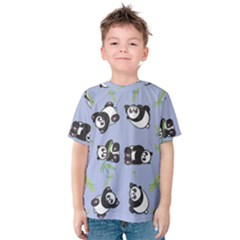 Panda Tile Cute Pattern Blue Kids  Cotton Tee