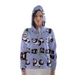 Panda Tile Cute Pattern Blue Hooded Wind Breaker (Women)