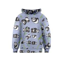 Panda Tile Cute Pattern Blue Kids  Pullover Hoodie