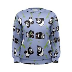 Panda Tile Cute Pattern Blue Women s Sweatshirt