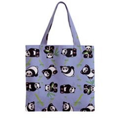 Panda Tile Cute Pattern Blue Zipper Grocery Tote Bag