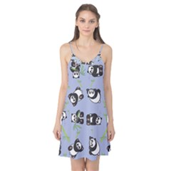 Panda Tile Cute Pattern Blue Camis Nightgown