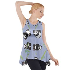 Panda Tile Cute Pattern Blue Side Drop Tank Tunic