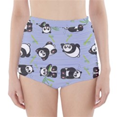 Panda Tile Cute Pattern Blue High-Waisted Bikini Bottoms