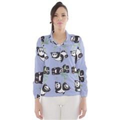 Panda Tile Cute Pattern Blue Wind Breaker (Women)