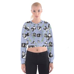 Panda Tile Cute Pattern Blue Women s Cropped Sweatshirt