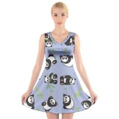 Panda Tile Cute Pattern Blue V Neck Sleeveless Skater Dress